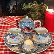 """Подарки к праздникам ручной работы. Ярмарка Мастеров - ручная работа Чайный сервиз """"Рождество вдвоем"""".. Handmade."""