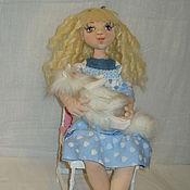 Куклы и игрушки ручной работы. Ярмарка Мастеров - ручная работа Девочка и котик. Handmade.