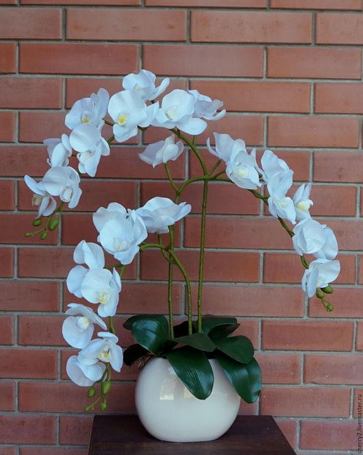 Искусственные растения ручной работы. Ярмарка Мастеров - ручная работа. Купить Искусственная Орхидея из Латекса Белая. Handmade. Белый, подарок
