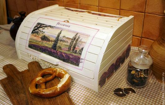 """Кухня ручной работы. Ярмарка Мастеров - ручная работа. Купить Хлебница """"Лаванда Прованса"""". Handmade. Белый, кипарис, хлебница декупаж"""