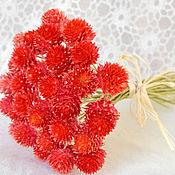 Цветы и флористика ручной работы. Ярмарка Мастеров - ручная работа Гомфрена красная сухоцвет букетик. Handmade.