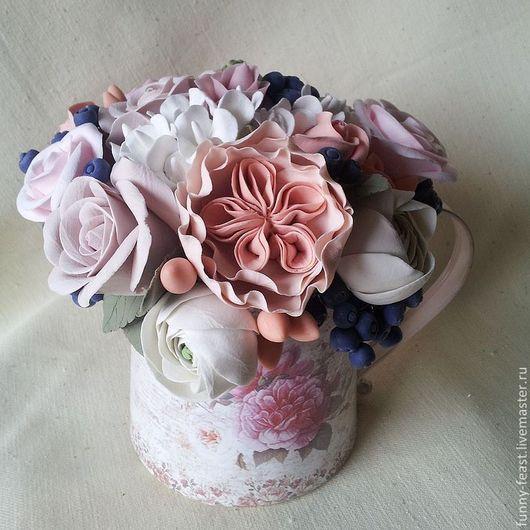 """Цветы ручной работы. Ярмарка Мастеров - ручная работа. Купить Букет """"Апрель"""". Handmade. Бледно-розовый, композиция, шебби-шик"""