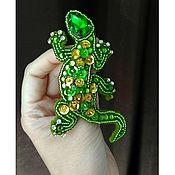 Украшения ручной работы. Ярмарка Мастеров - ручная работа Зеленая ящерка. Handmade.