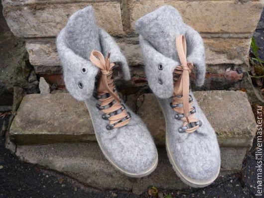 """Обувь ручной работы. Ярмарка Мастеров - ручная работа. Купить Ботинки """"Незнакомка"""". Handmade. Серый, валенки ручной валки"""