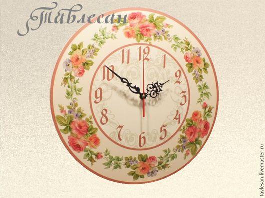 """Часы для дома ручной работы. Ярмарка Мастеров - ручная работа. Купить Часы настенные """"Летние розы"""". Handmade."""
