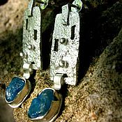 """Украшения ручной работы. Ярмарка Мастеров - ручная работа Серьги """"Stirling Castle"""" (серебро, апатиты). Handmade."""
