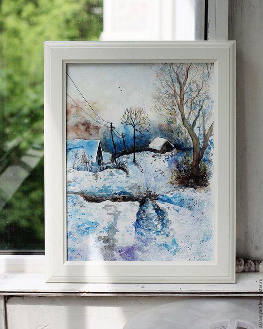 30х40 см (формат А3). Стоимость картины `Зима в деревне`- 3800р.