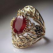 Украшения handmade. Livemaster - original item Thistle Flower ring with ruby and diamonds. Handmade.