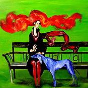 Картины и панно ручной работы. Ярмарка Мастеров - ручная работа Синий пес картина маслом. Handmade.