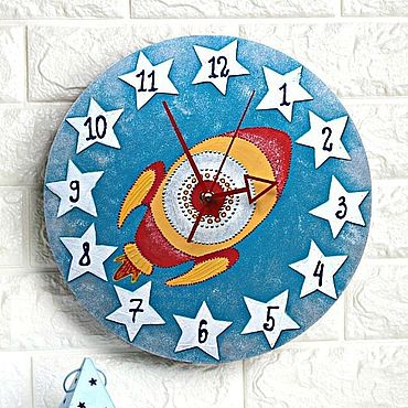 For home and interior handmade. Livemaster - original item Children`s wall clock Rocket clock for a boy. Handmade.