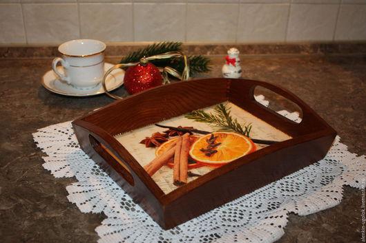 """Кухня ручной работы. Ярмарка Мастеров - ручная работа. Купить Поднос """"Апельсин и корица"""". Handmade. Коричневый, апельсин, подарок женщине"""
