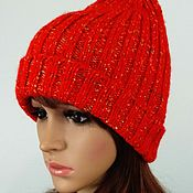 handmade. Livemaster - original item Knitted pumpkin hat onion hat with shiny thread and lapel. Handmade.