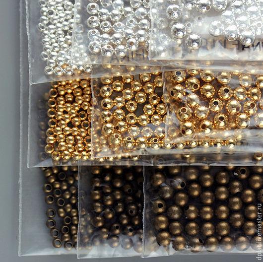 Для украшений ручной работы. Ярмарка Мастеров - ручная работа. Купить Бусины мелкие позолота/посеребрение/старое золото 100 шт 2.5, 3 и 4 мм. Handmade.