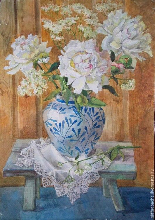 Натюрморт ручной работы. Ярмарка Мастеров - ручная работа. Купить Белые пионы в китайской вазе. Handmade. Белый, пион, нежность
