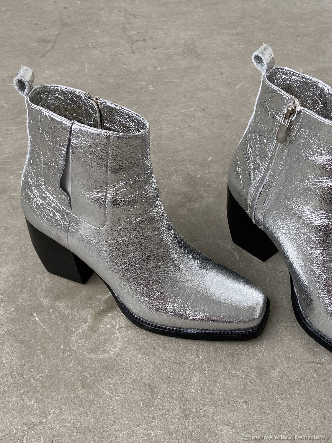 Silver Metallic Leather Ankle Boots, Ankle boot, Moscow,  Фото №1
