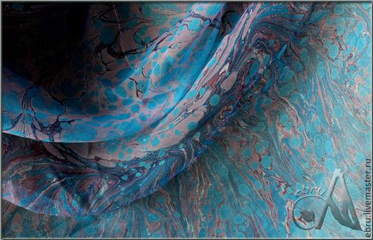"""Шали, палантины ручной работы. Ярмарка Мастеров - ручная работа. Купить """"Небесные краски в Эбру на шелке"""" - Платок, (рисунки на воде). Handmade."""