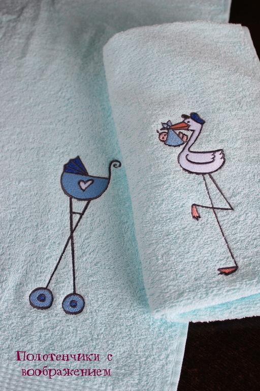 Ванная комната ручной работы. Ярмарка Мастеров - ручная работа. Купить Сыночку . Комплект полотенец.. Handmade. Белый, аист