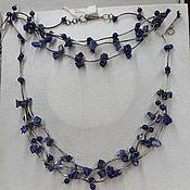 Украшения handmade. Livemaster - original item Silver set with lapis lazuli. Lapis lazuli necklace and bracelet.. Handmade.