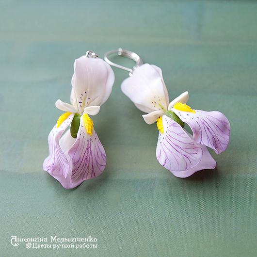 """Серьги ручной работы. Ярмарка Мастеров - ручная работа. Купить Серьги """"Ирисы"""". Handmade. Ирис, цветы, серьги, холодный фарфор"""
