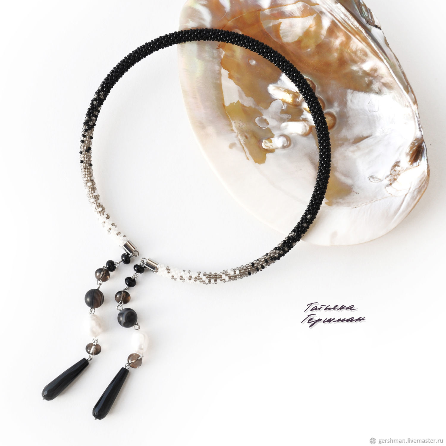 Open necklace made of onyx, rauchtopaz, pearls and agate black and white, Necklace, Tomsk,  Фото №1