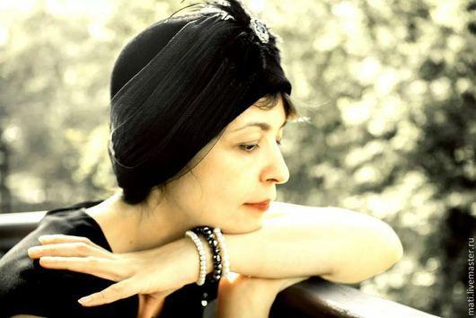 """Шляпы ручной работы. Ярмарка Мастеров - ручная работа. Купить шляпка- клош """" Чёрный лебедь"""". Handmade. Черный, клош"""