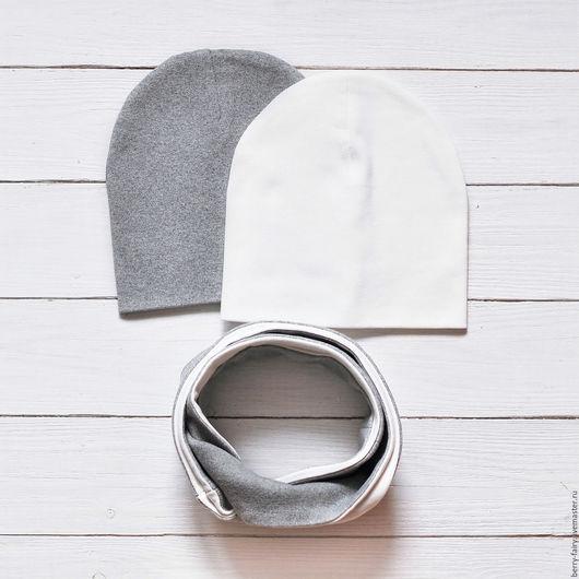 Шапки ручной работы. Ярмарка Мастеров - ручная работа. Купить Комплект шапка и снуд из трикотажа. Handmade. Шапка, шапка для мальчика