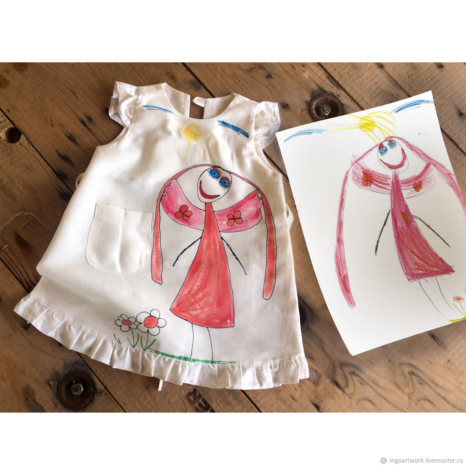 06a0ab1019d9a Personalized white linen kids art dress, Baby girl christening or wedd –  shop online on Livemaster with shipping - FXPHTCOM | Trakai
