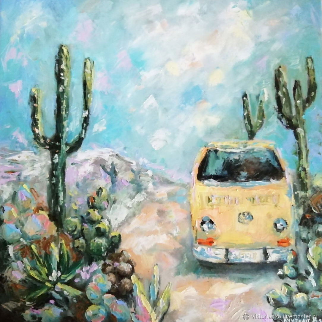 Mexico oil Painting cacti and vintage bus, Pictures, Moscow,  Фото №1