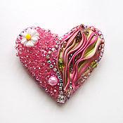 """Украшения ручной работы. Ярмарка Мастеров - ручная работа Брошь """"Мое сердце"""" с лентой шибори. Handmade."""