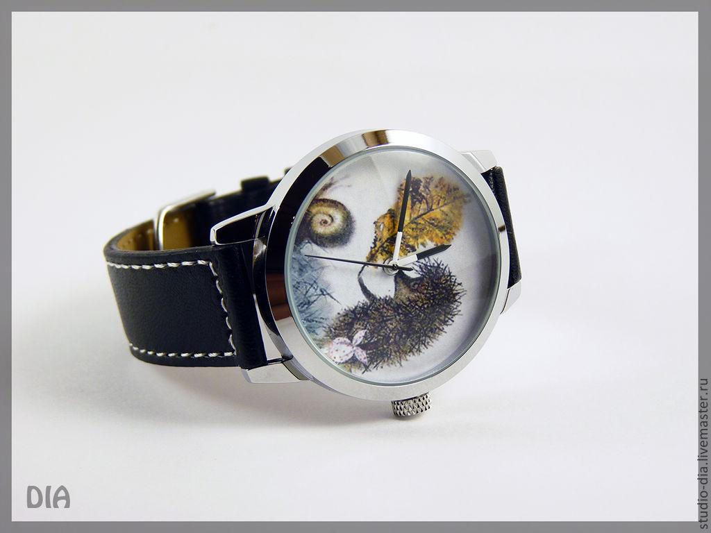 2a977c1b5c40 Часы. Наручные Часы. Ежик В Тумане. Оригинальные Дизайнерские Часы Ежик С  Листочком. Студия Дизайнерских Часов DIA.