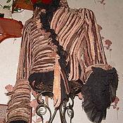 """Одежда ручной работы. Ярмарка Мастеров - ручная работа Жакет из шерсти и шифона """"В меховую полоску"""". Handmade."""