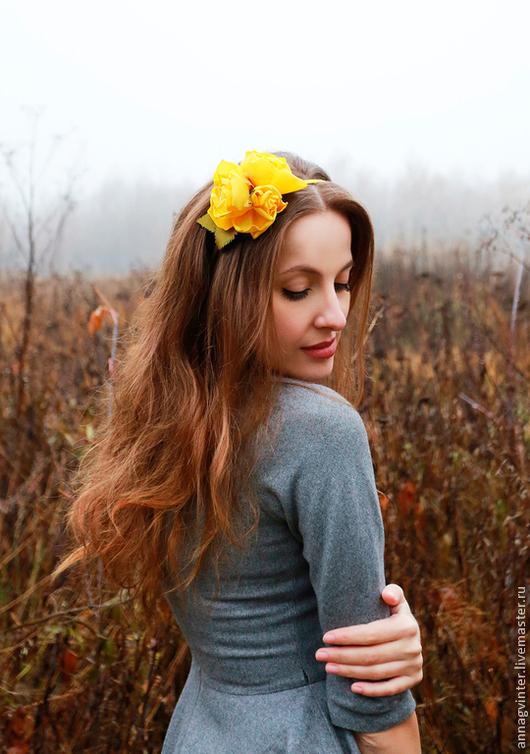 Диадемы, обручи ручной работы. Ярмарка Мастеров - ручная работа. Купить Ободок для волос ФИОНА. Handmade. Желтый, ободок для девушки