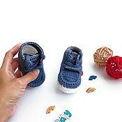 Работы для детей, ручной работы. Ярмарка Мастеров - ручная работа пинетки для мальчика вязаные пинетки ботиночки джинсовый синий. Handmade.