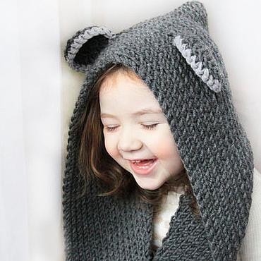 """Работы для детей, ручной работы. Ярмарка Мастеров - ручная работа Вязаный капюшон-шарф """"Мышка"""". Handmade."""