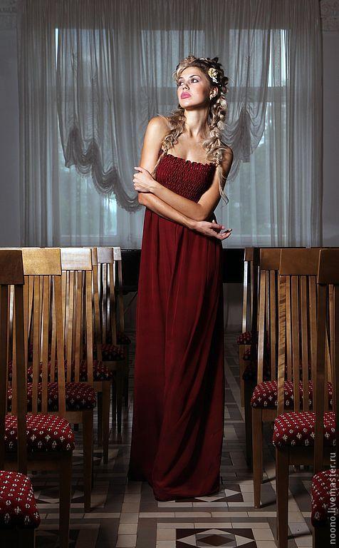 """Платья ручной работы. Ярмарка Мастеров - ручная работа. Купить Шелковое платье """"Брусника"""". Handmade. Пурпурное платье, летнее платье"""