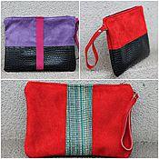 Сумки и аксессуары handmade. Livemaster - original item Beauticians: Handbag organizer suede and leather zippered New year. Handmade.