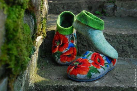 Обувь ручной работы. Ярмарка Мастеров - ручная работа. Купить Валяные тапочки 39 «Полевые маки». Handmade. Серый