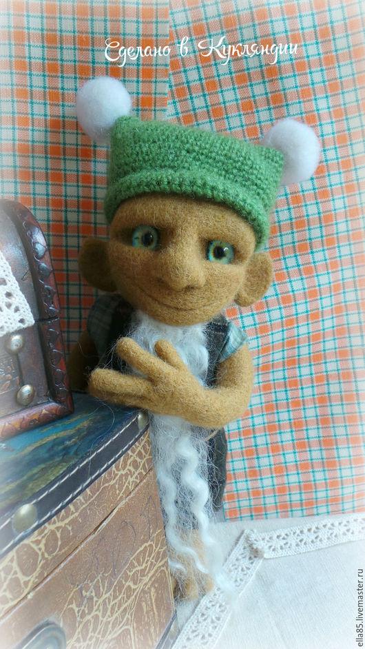 Сказочные персонажи ручной работы. Ярмарка Мастеров - ручная работа. Купить Гном из шерсти. Handmade. Зеленый, сказочные персонажи