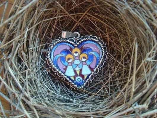 """Кулоны, подвески ручной работы. Ярмарка Мастеров - ручная работа. Купить Кулон """" Ангелы в сердце"""". Handmade. Кулон, медь"""