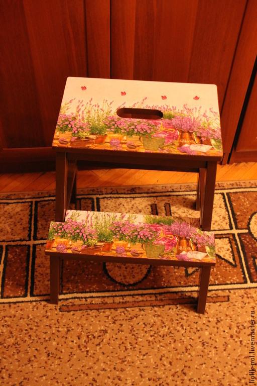 """Мебель ручной работы. Ярмарка Мастеров - ручная работа. Купить Табурет стремянка """"Лаванда"""". Handmade. Коричневый, дача, цветы, дерево"""