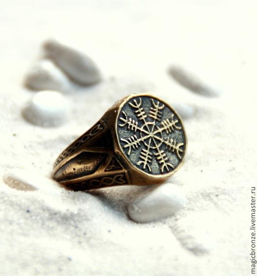 Кольца ручной работы. Ярмарка Мастеров - ручная работа. Купить Бронзовое кольцо Агисхьяльм. Handmade. Бронза, кольцо, агисхьяльм