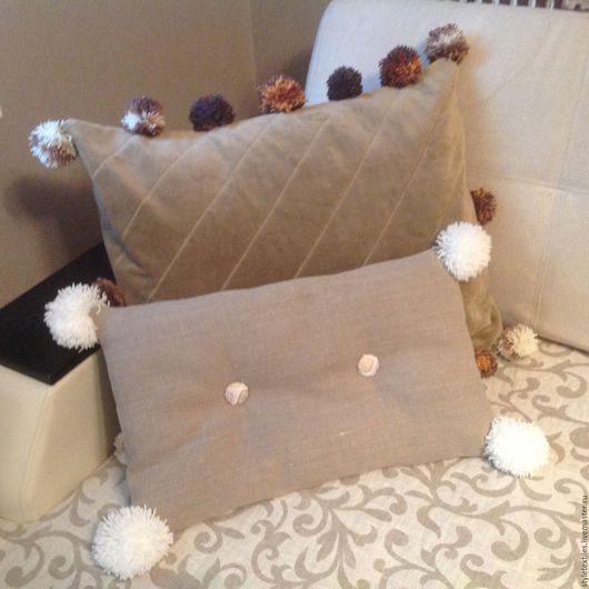 Текстиль, ковры ручной работы. Ярмарка Мастеров - ручная работа. Купить Большая интерьерная подушка с помпончиками. Handmade. Коричневый