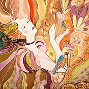 """Аксессуары ручной работы. Ярмарка Мастеров - ручная работа Косынка """"Девушка-осень"""" батик. Handmade."""