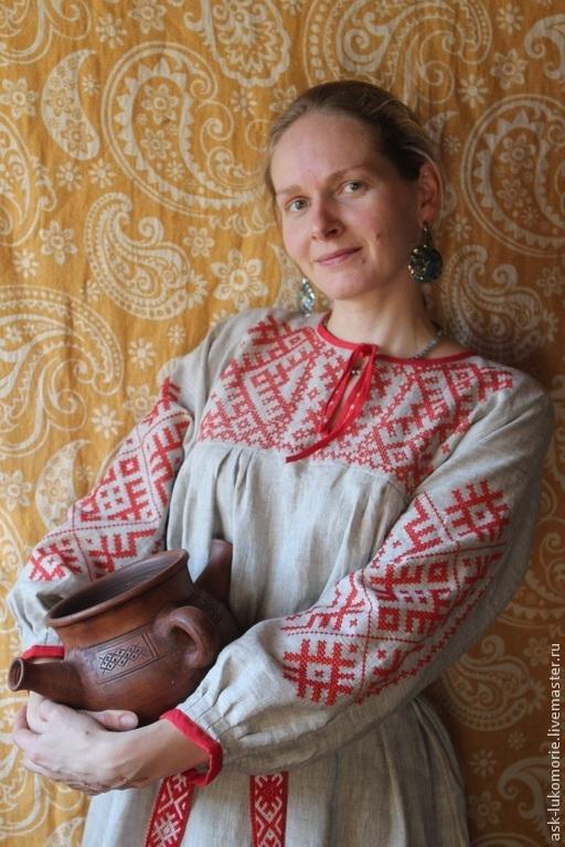 Одежда ручной работы. Ярмарка Мастеров - ручная работа. Купить платье с Обережной вышивкой. Handmade. Традиционный крой, Машинная вышивка