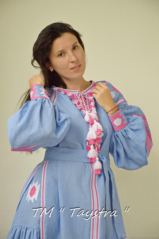 Вышитое платье макси платье вышиванка лен 15238aa02f784