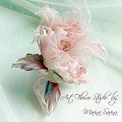 "Цветы и флористика handmade. Livemaster - original item Rose ""Morning smoke"" - a brooch, an ornament in a hairdress, a veil. Handmade."