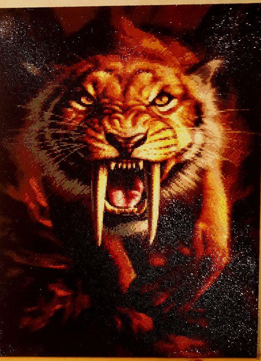 Животные ручной работы. Ярмарка Мастеров - ручная работа. Купить алмазная мозайка Саблезубый тигр. Handmade. Комбинированный, готовая работа