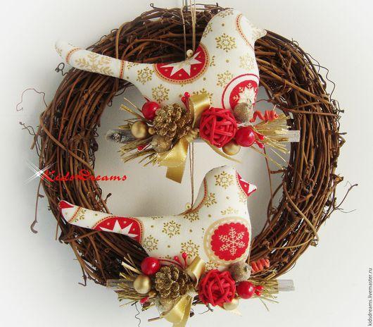 """Новый год 2017 ручной работы. Ярмарка Мастеров - ручная работа. Купить Птички """"Рождественские"""". Handmade. Ярко-красный, новогодний подарок"""