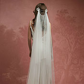 Свадебный салон ручной работы. Ярмарка Мастеров - ручная работа Свадебная фата в стиле ретро с кружевом, кружевная фата А-13. Handmade.