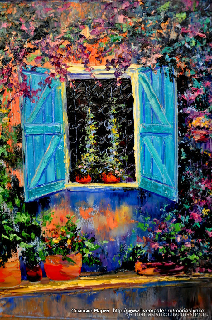 Picture. Flowers on the window